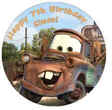 """Cars Mater Personalised Birthday Cake Topper Edible 7.5"""" Wafer Cake Decoration"""