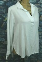 Women's J.CREW Solid White Blouse Medium Black Label Tie Cuff Round Hem Popover