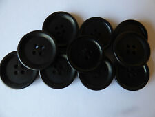 10 x 22mm Black Resin Buttons Large 4 Holes 3mm Thick COAT Blazer OVER COAT sew