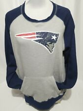 Majestic New England Patriots Gray Blue Hand Pocket Sweatshirt Size L
