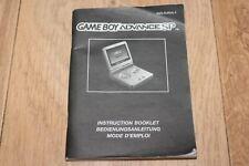 notice mode d'emploi console Nintendo Game Boy advance SP