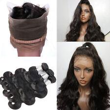 Pre Plucked 360 Full Lace Frontal closure hair Bundles Indian Virgin Human Hair