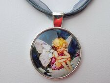 Silver Plated Flower Fairy Pendant Silver Organza Ribbon Wax Cords Necklace
