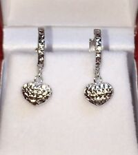 18k Solid White Gold Cute Heart Dangle Hoop Earrings, Diamond Cut 1.30 Grams