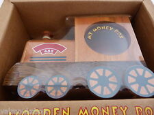TRAIN SHAPE HANDCRAFTED WOOD MONEY BOX WITH HIDDEN LOCK NEW AND BOXED