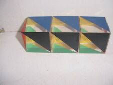 Great set of 3 Geometric Mid Century Modern Lucite Paperweight Cubes  (2457B)
