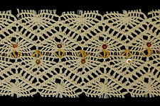 "10 Metres × 4"" Wide Cream Crochet Lace Trim (beads & sequins)"