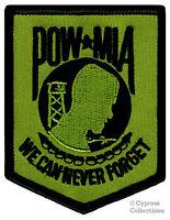 POW-MIA EMBROIDERED PATCH iron-on VIETNAM WAR GREEN MILITARY PRISONER KIA