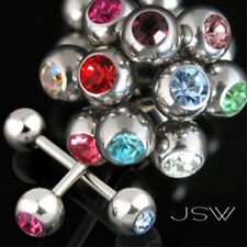 12pcs Press Fit CZ Gem Tongue Rings wholesale body jewelry tounge barbells (t23)