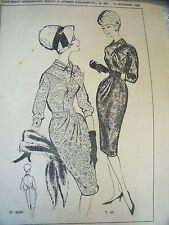 1485( 802)  ANCIEN PATRON  FEMMES D'AUJOURD'HUI ROBE FOURREAU DRAPEE  T 44 1960