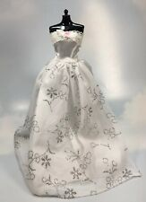 Barbie Doll sized white strapless Dress Gown Clothing silver accents