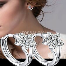 925 Sterling Genuine Silver Plated Round Crystal Zircon Hoop Sleeper Earrings