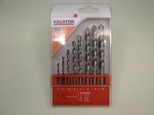 Set 8 masonry drill bits hardened steel tungsten carbide tips 3-10mm brick stone