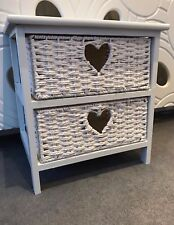 White Wicker Bedside Table Basket Small Drawers Shabby Chic Heart Wood Bedroom