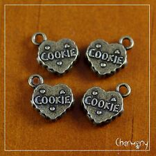 Heart-Shaped Cookie charms ~PACK of 4~ antique bronze tea time break biscuit