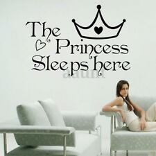 The Princess Sleeps Here Home Decor Room Wall Sticker Paper Art Vinyl Decal