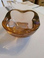 Vintage Sklo union czech Amber Art Glass Bowl PATTERN Pink