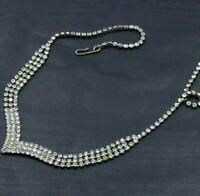 "Vintage Rhinestone V Collar Necklace Bib Long Fringe Silver Tone Deco 17"" C19"