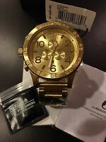 New Authentic NIXON Watch Mens 51-30 CHRONO All Gold A083-502 A083502 Free Ship