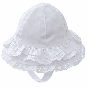 BABY GIRLS WHITE COTTON SUN HAT DOUBLE FRILL WIDE BRIM CHIN STRAP NEWBORN - 6M