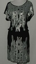 Angie Women's Dress Size S Black GunMetal Sequins Graphic City Reflection Light