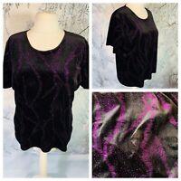 Ladies Black Top Size XL 22/24 EWM PURE CLASSICS Pink Shimmer Velvet Stretchy