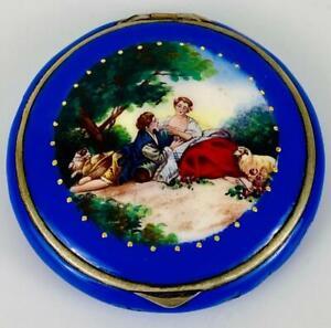 Antique~Austrian Blue Enamel Guilloche Powder Compact~Sterling Silver~ Watteau