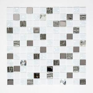 selbstklebende Mosaik Fliese Edelstahl weiß Diamant Glas 200-4CM24_f  10 Matten