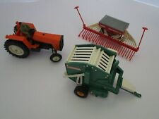 Britains Farm Toys 9422 Orange Tractor + Implements Lot Of 3 Must See 1:32