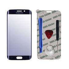 Frontglas Displayglas Samsung Galaxy S6 Edge Reparaturset mit Werkzeug Blau
