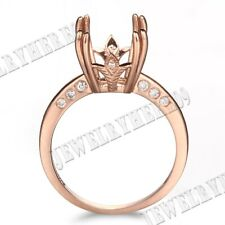 14k Rose Gold Full Cut Flush Wedding Diamond Semi-Mount Ring 10mm Cushion/Round