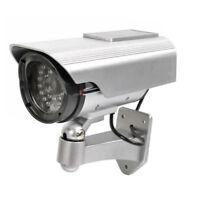 Solar Power Silver Fake Dummy Security CCTV Camera Waterproof Surveillance WYS