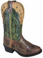 Smoky Children's Kid's  Reno Brown Distress and Green Crackle Leather Western Co