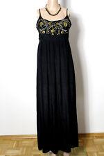 Kleid Gr. 36 schwarz Hippie India Empire Maxi Kleid mit Perlen und Pailletten