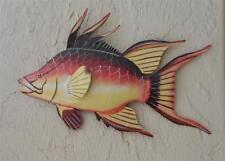 "OUTDOOR HAITIAN 15"" METAL HOGFISH HANGING TROPICAL FISH WALL ART DECOR"