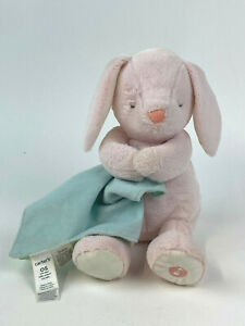 CARTERS Lt Pink Cuddly Bunny Rabbit Plush w/Green Blanket L31626h Lullaby Music