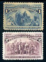 USAstamps Unused VF US 1893 Columbian Expo Scott 230 MNH, 231 MVLH Fresh