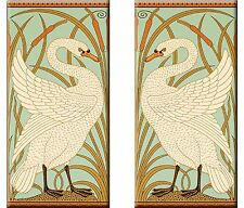 Set of 2 Art Nouveau ceramic wall tile 3 X 6 Inches #40