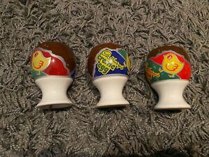 x3 Vintage Cadburys Creme Egg Ceramic Easter Advertising Egg Cups