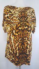 Jennifer Lopez Womens Animal Print  Blouse Top Size 1X Rayon