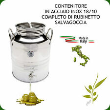 CONTENITORE INOX 18/10 LT.12 PER OLIO COMPLETO DI RUBINETTO NOX