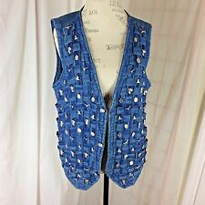 Ellen Richman Blue Denim Size XL Vest w/ Western Charms on Woven front