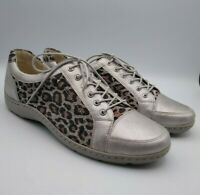 WALDLAUFER Proactiv Size 7 SILVER / STONE Animal Print Lace Up TRAINERS £100 RRP