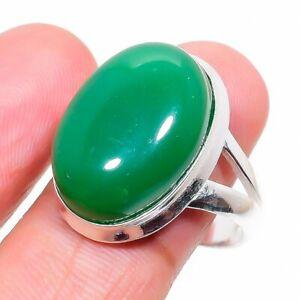 Emerald Gemstone Handmade 925 Sterling Silver Jewelry Ring Size 8.5