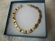 NOLAN MILLER Signed Bracelet Goldtone with Sapphire Austrian Crystal Free Ship