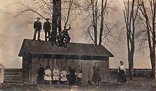 Durant Iowa~Fred H Puls~Family~Men on Barn~Women & Children Below~c1908 RPPC