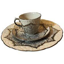 Vintage Wedgwood Platinum Leaf Cauliflower 18 Pc Set Cups Saucer Luncheon Plate