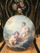 More details for decorative vintage wall plaque with cherubum nestling in the clouds.