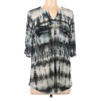 FAITH JOY LA Women's Black White Gray Tie Dye Sheer Top Blouse   Size Medium