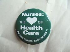Vintage Ontario Canada Nurses' Association Heart of Health Care Nursing Pinback